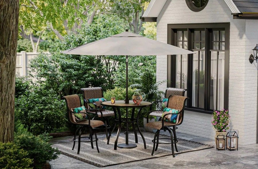 Lowe's photos of Allen + Roth Copper Pointe 5-piece dining set with swivel chairs.